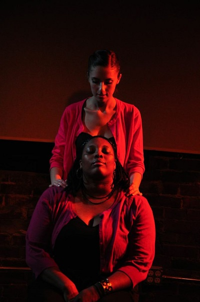 Rachel Viele and Sharyce L. McElvane in Magic Fingers, and Legal Tender.